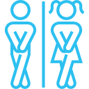 man and women toilets icon blue